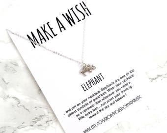 Elephant talisman necklace, lucky necklace, wish necklace, friendship necklace, dainty minimalist necklace, simple everyday necklace