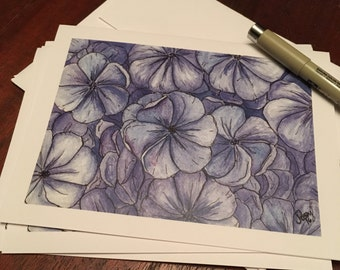 Set of 4 Notecards- Hydrangea greeting card blank inside