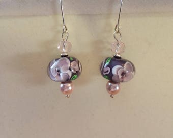 Purple and Pink Lampwork Earrings on Sterling Silver Findings One of a Kind