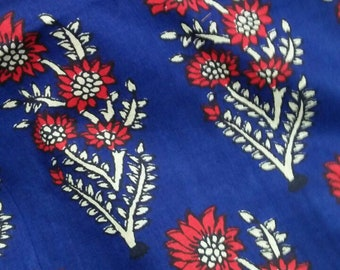 Fabric by the yard, Rayon Fabric, Ink Blue and Red Flowers Print, Boho Print, printed rayon fabric, 44 inches width, machine washable fabric
