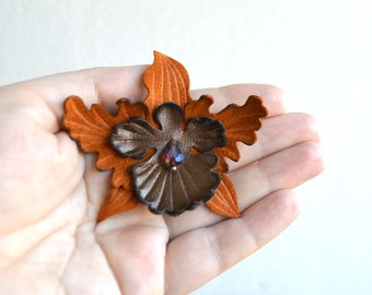 """leather flower brooch or hairpins (barrette clip) flower leather, orchid handmade. omans brooch. Ready to Ship! Size 3 """"(8cm)."""