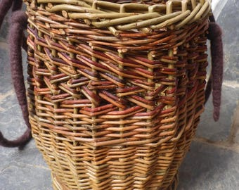 Funky Handbasket with brown felt handles