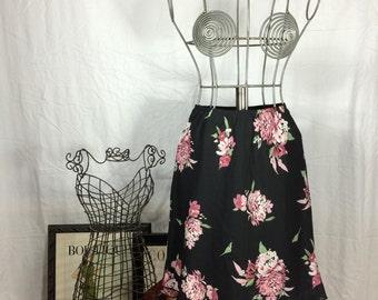 Vintage Floral Black and Pink Skirt