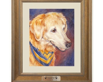 Dog Memorial Pet Portrait with Personalized Name Plate Painted from Photos in Watercolor or Oil by Janet Zeh