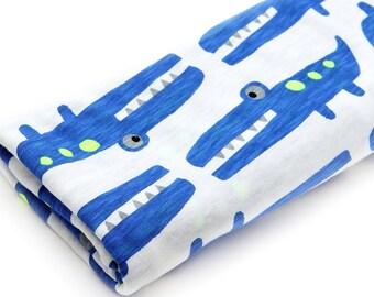 Slub Knit Fabric Crocodile Blue By The Yard