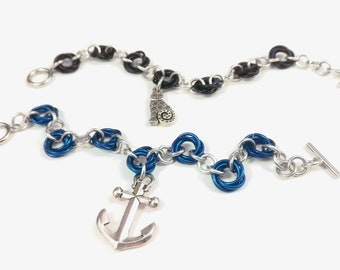 Blue Anchor or Black Swirly Cat Mobius Spiral Chainmaille Charm Bracelet