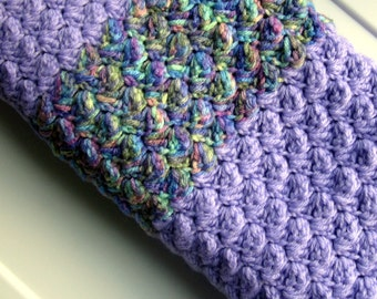 Crochet Baby Blanket for Crib or Bassinet in a Purple and multi color Ready to ship