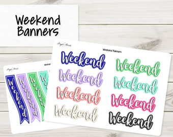 Weekend Banners | Planner Stickers