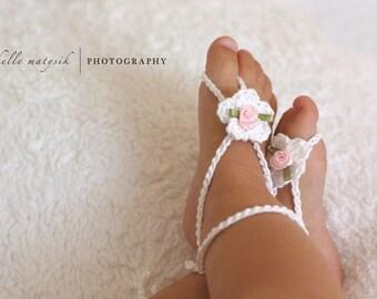 Baby Barefoot Sandals, Baby Crochet Sandals, Newborn Photo Prop, Baby Shoes, Newborn Girl, Crochet Barefoot Sandals, Cotton Sandals