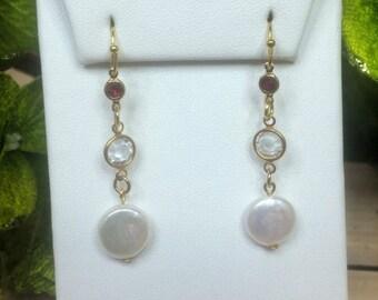 Swarovski Crystal Red & Coin Pearl Earrings