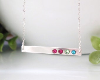 Sterling Silver Bar Necklace - Birthstone Bar Necklace - Sterling Silver Birthstone Necklace For Mom - Gift for Mom - Christmas Gift for Mom