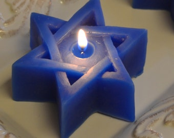 Star of David Candles Set of 8.  Ecellent floating candles or use as pillar candle