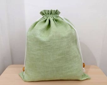 Pure Linen drawstring bag with cotton lining | favor bag | book bag | linen bread bag | linen storage bag | laundry bag