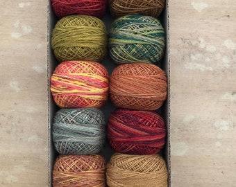 Valdani Hand Dyed Perle Cotton Balls Size 12 100m 12 per Pkg-Fabulous Autumn 902-5772 Shipping - NEW