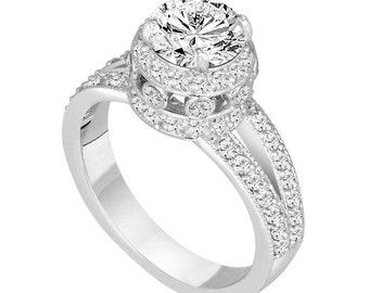 Diamond Engagement Ring Platinum, 1.52 Carat Diamond Bridal Ring, GIA Certified Diamond Wedding Ring, Unique Halo Pave Handmade