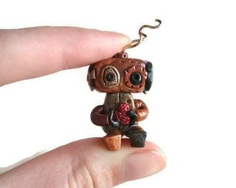 Robot sculpture figurine, steampunk miniature collectible, OOAK geeky gift, one of a kind art