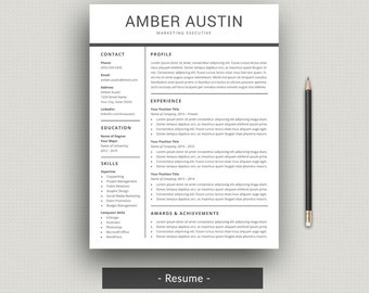 Resume Template | CV Template | Professional Resume + Cover Letter For Word  | Modern Resume