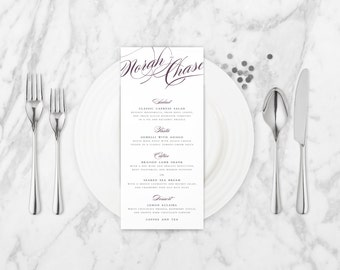 The Isabella Romantic Calligraphy Wedding Menu Card