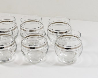 Set of 6 Mid-Century Silver Roly-Poly Glasses