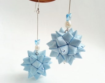 Somthing Blue Ribbon Balls -- Ribbon Ornament Earrings -- OOAK