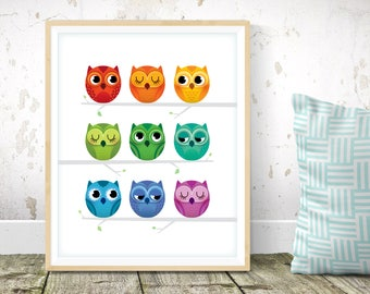 Rainbow nursery - Owl print, cute art prints, baby room decor, rainbow decor, kids room prints, nursery wall art, Scandinavian nursery