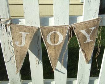 Upcycled JOY Burlap Banner (White with White Felt Backing) Rustic Christmas Bunting Eco-Friendly Home Decor