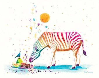 Kids Wall Art Rainbow Zebra Print Zebra Print - Mid-autumn Fragance - 8x10 Childrens Print, Kids Decor Art, Kids Zebra Art, Children Print