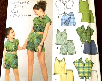 Simplicity #5163 SIX MADE EASY ! Child's & Girls Top, Shorts and Pants  Sz 7, 8, 10, 12, 14