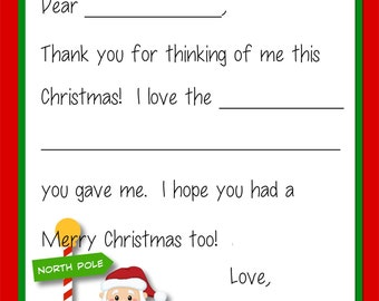 Kids Fill In the Blank Christmas Thank You Cards - Santa & Elves