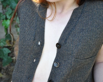Brown wool button up knit vest // marled knit top + s + m