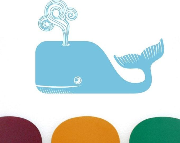 whale vinyl wall decal, whale sticker art, nautical wall art, sperm whale sticker, moby dick, FREE SHIPPING