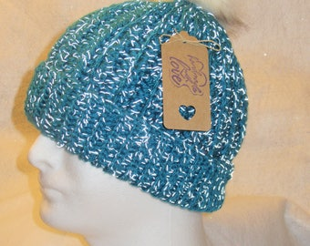 Hand Crochet Warm Winter Hat With Reflective Material- Free Shipping