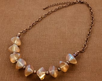 Czech Glass Necklace with Czech Glass Pearls on Copper Plated Chain