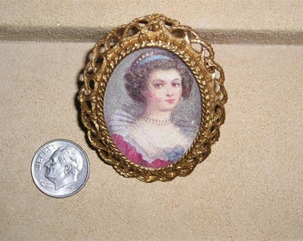 Vintage Signed Florenza Cameo Brooch 1960's Jewelry 2173
