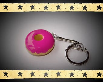 Donuts raspberry glaze on keychain