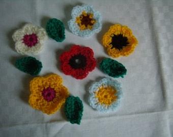 6 multicolored flowers, 4 leaves crochet applique, handmade