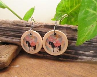 Bohemian boho circus earrings in wood with a circus horse