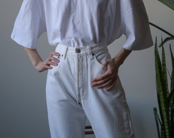 LEVIS white high waist cropped jeans / easy fit jeans / 30 W / 3771t