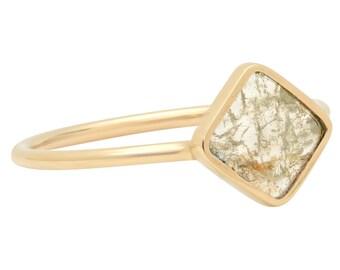 Diamond Slice Ring, Yellow 14K Gold Ring, Engagement Ring, Modern Engagement Ring, Rose Cut Diamond Ring, Tula Jewelry