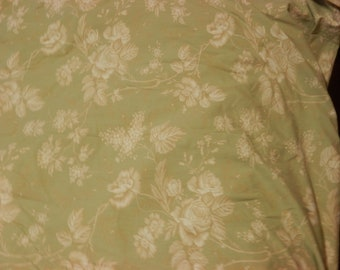 GORGEOUS RESTORATION HARDWARE Queen Duvet Cover Pistachio Cream Roses Cotton Made in Italy