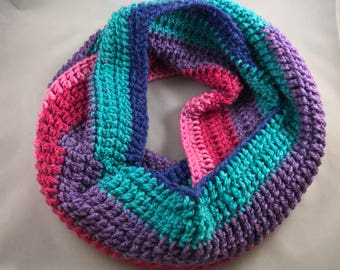 Colorful Striped Infinity Scarf Handmade Winter Scarf