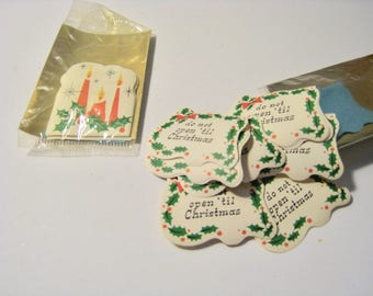 American Greetings Christmas Seals. 2 packs of 12, 24 seals total. Candles, Don't Open 'til Christmas. Mid Century NOS Holiday stickers