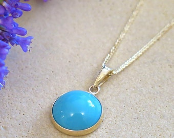 Turquoise Necklace, 14K Gold Necklace, Turquise Pendant, Turquoise Jewelry, December Birthstone, Gemstone Necklace, Mothers Day Sale