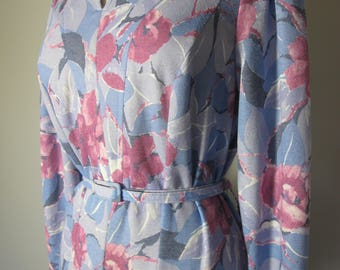 Vintage 1960s Fifties Style Pink Blue Floral Day 60s Dress  L - XL - XXL