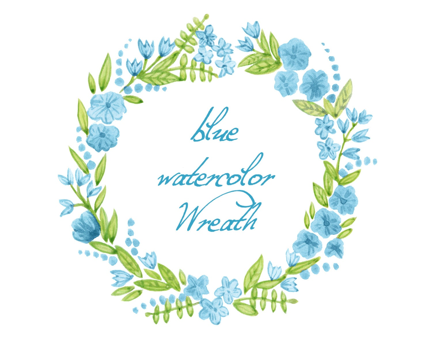 Digital wreath digital clipart watercolor flowers blue zoom izmirmasajfo Gallery