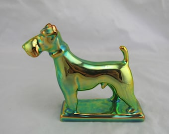 Zsolnay Eosin Standing Fox Terrier Dog Figurine, Iridescent Green, Hungarian