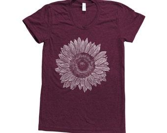 SUNFLOWER Shirt Women Screen Print Tri-Blend Short Sleeve Tshirt Available: S, M, L, XL
