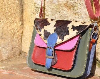 small multicolor leather bag