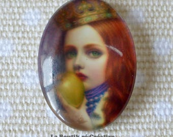 1 x Pearl girl child Apple 25x18mm glass cabochon