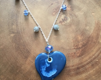 Heart Necklace, Blue Heart Necklace, Autism Awareness Jewelry, Silver Charm Necklace, Mothers Day Jewelry, Women Necklace, Beaded Necklace